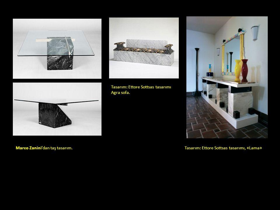 Marco Zanini'dan taş tasarım.tasarımları. 1970/80. Tasarım: Ettore Sottsas tasarımı Agra sofa. Tasarım: Ettore Sottsas tasarımı, «Lama»
