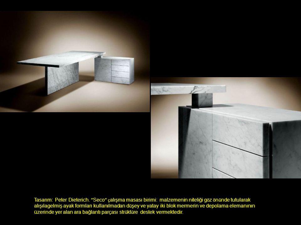 """Tasarım: Peter Dieterich. """" Seco """" ç alışma masası birimi: malzemenin niteliği g ö z ö n ü nde tutularak alışılagelmiş ayak formları kullanılmadan d ü"""