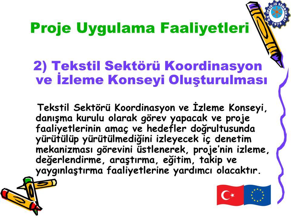Proje Uygulama Faaliyetleri 2) Tekstil Sektörü Koordinasyon ve İzleme Konseyi Oluşturulması Tekstil Sektörü Koordinasyon ve İzleme Konseyi, danışma ku