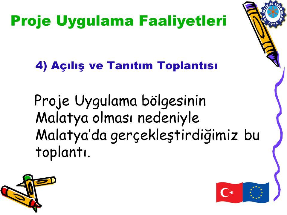 Proje Uygulama Faaliyetleri 4) Açılış ve Tanıtım Toplantısı Proje Uygulama bölgesinin Malatya olması nedeniyle Malatya'da gerçekleştirdiğimiz bu topla