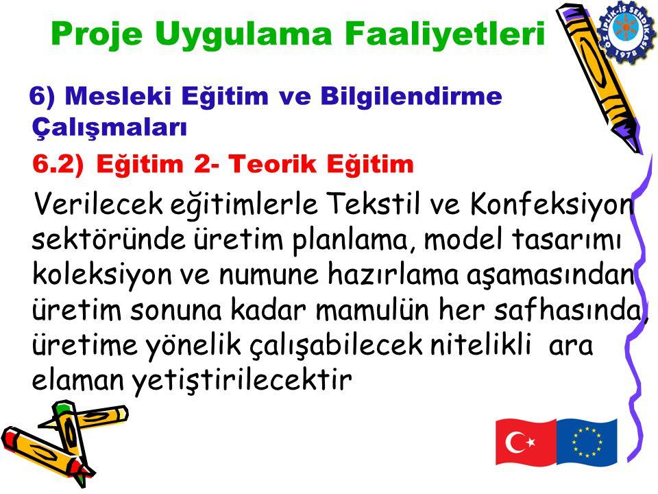 Proje Uygulama Faaliyetleri 6) Mesleki Eğitim ve Bilgilendirme Çalışmaları 6.2) Eğitim 2- Teorik Eğitim Verilecek eğitimlerle Tekstil ve Konfeksiyon s