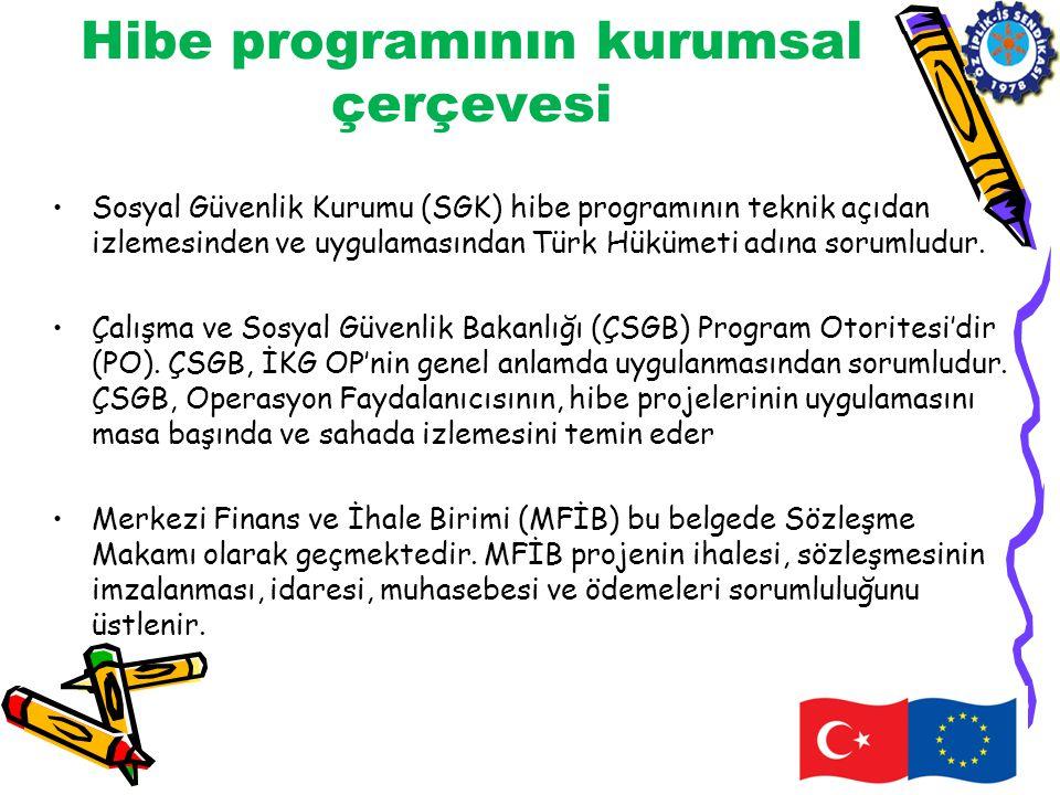 Hibe programının kurumsal çerçevesi •Sosyal Güvenlik Kurumu (SGK) hibe programının teknik açıdan izlemesinden ve uygulamasından Türk Hükümeti adına so
