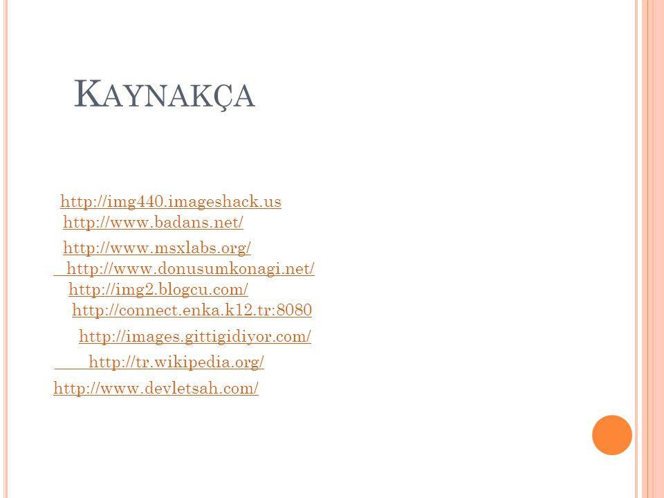 K AYNAKÇA http://img440.imageshack.us http://img2.blogcu.com/ http://www.badans.net/ http://www.donusumkonagi.net/ http://www.msxlabs.org/ http://conn
