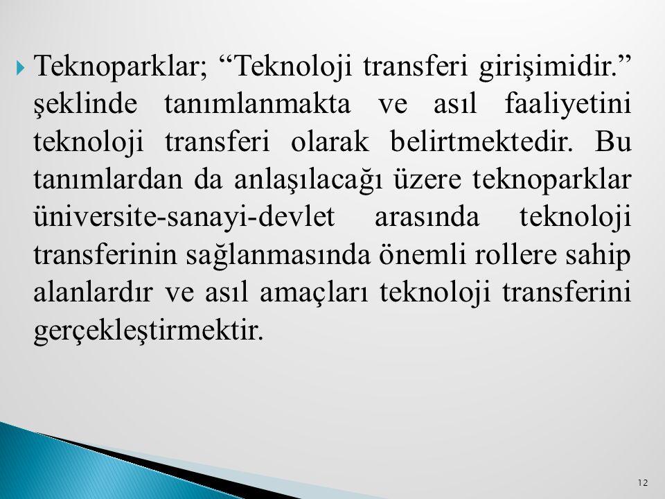 """ Teknoparklar; """"Teknoloji transferi girişimidir."""" şeklinde tanımlanmakta ve asıl faaliyetini teknoloji transferi olarak belirtmektedir. Bu tanımlarda"""