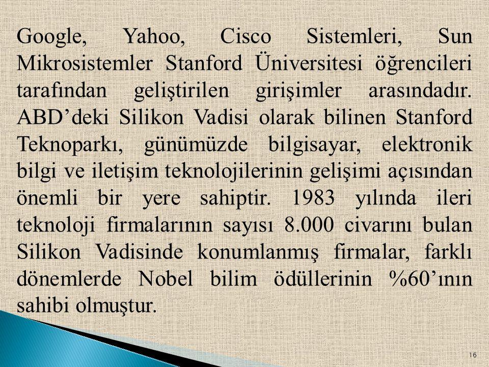 16 Google, Yahoo, Cisco Sistemleri, Sun Mikrosistemler Stanford Üniversitesi öğrencileri tarafından geliştirilen girişimler arasındadır. ABD'deki Sili