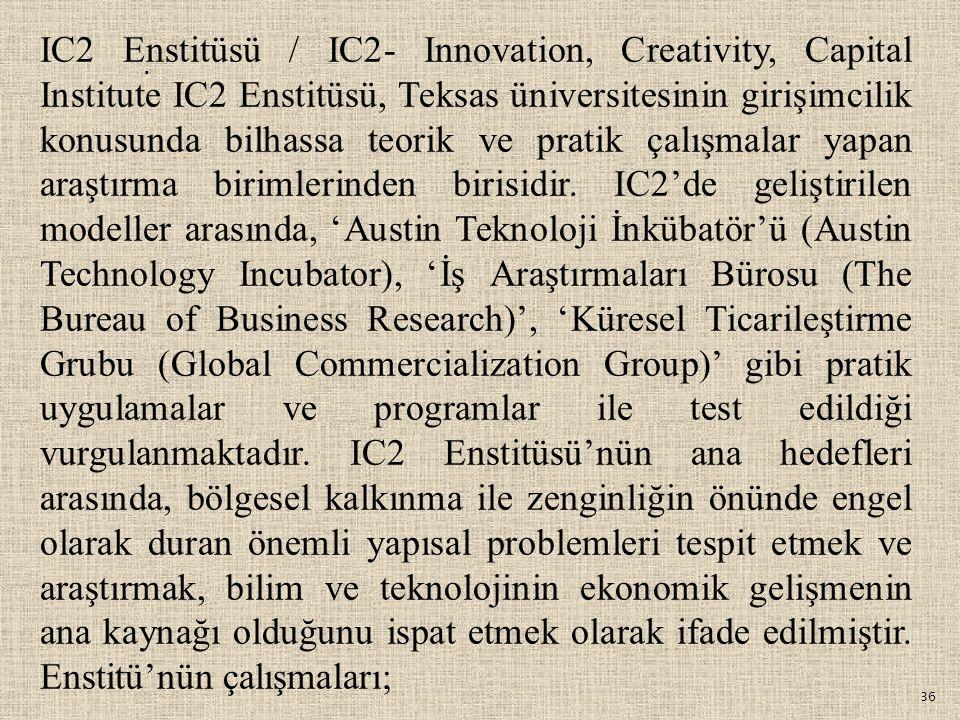 36. IC2 Enstitüsü / IC2- Innovation, Creativity, Capital Institute IC2 Enstitüsü, Teksas üniversitesinin girişimcilik konusunda bilhassa teorik ve pra