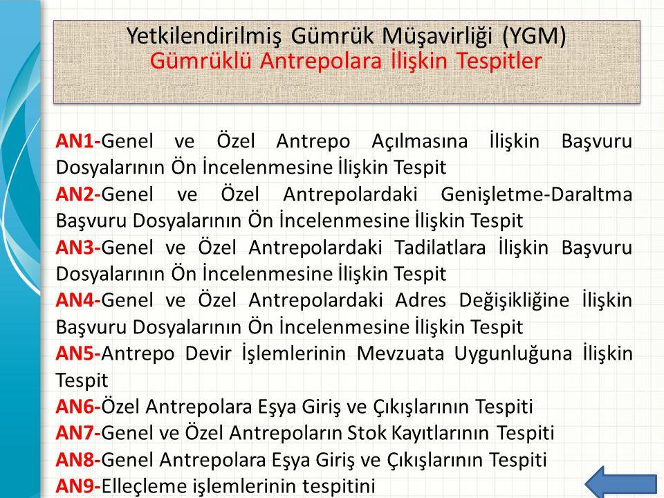 Yetkilendirilmiş Gümrük Müşavirliği (YGM) Gümrüklü Antrepolara İlişkin Tespitler Yetkilendirilmiş Gümrük Müşavirliği (YGM) Gümrüklü Antrepolara İlişki