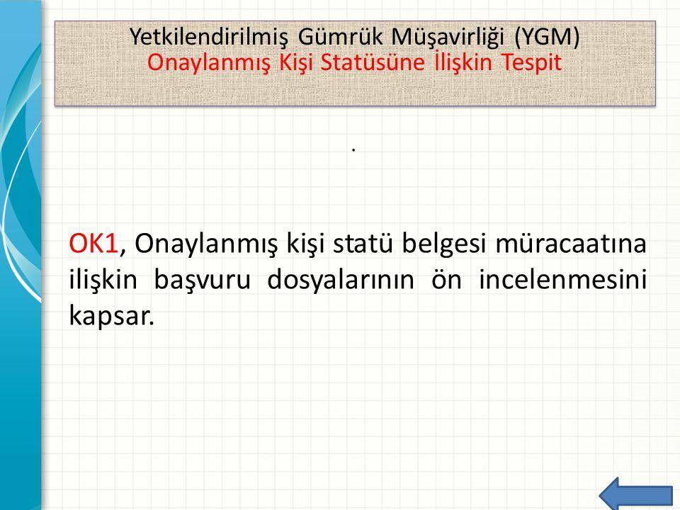 Yetkilendirilmiş Gümrük Müşavirliği (YGM) Onaylanmış Kişi Statüsüne İlişkin Tespit Yetkilendirilmiş Gümrük Müşavirliği (YGM) Onaylanmış Kişi Statüsüne