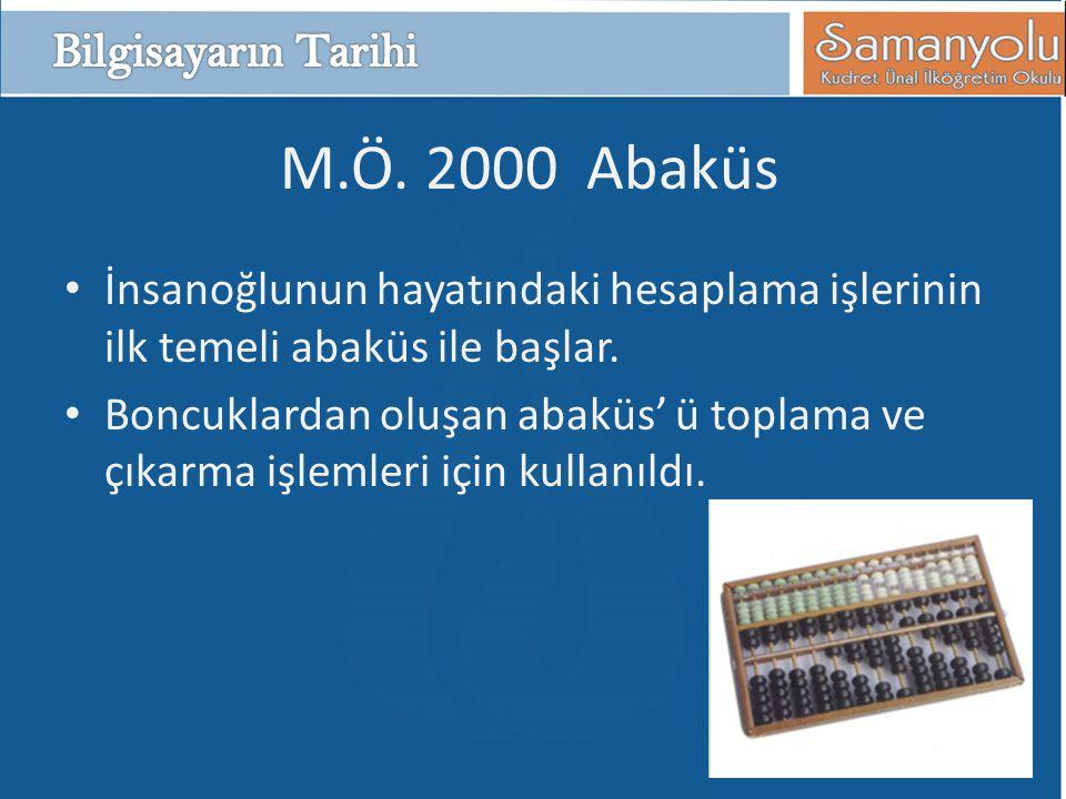 M.Ö. 2000 Abaküs • İnsanoğlunun hayatındaki hesaplama işlerinin ilk temeli abaküs ile başlar. • Boncuklardan oluşan abaküs' ü toplama ve çıkarma işlem
