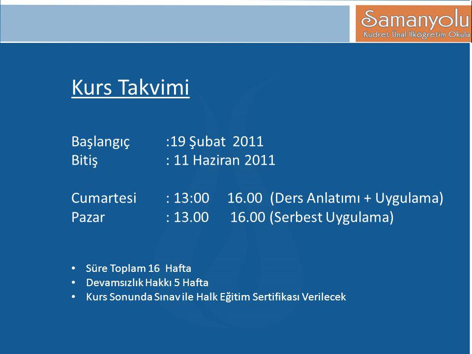 Kurs Takvimi Başlangıç:19 Şubat 2011 Bitiş: 11 Haziran 2011 Cumartesi : 13:00 16.00 (Ders Anlatımı + Uygulama) Pazar : 13.00 16.00 (Serbest Uygulama)