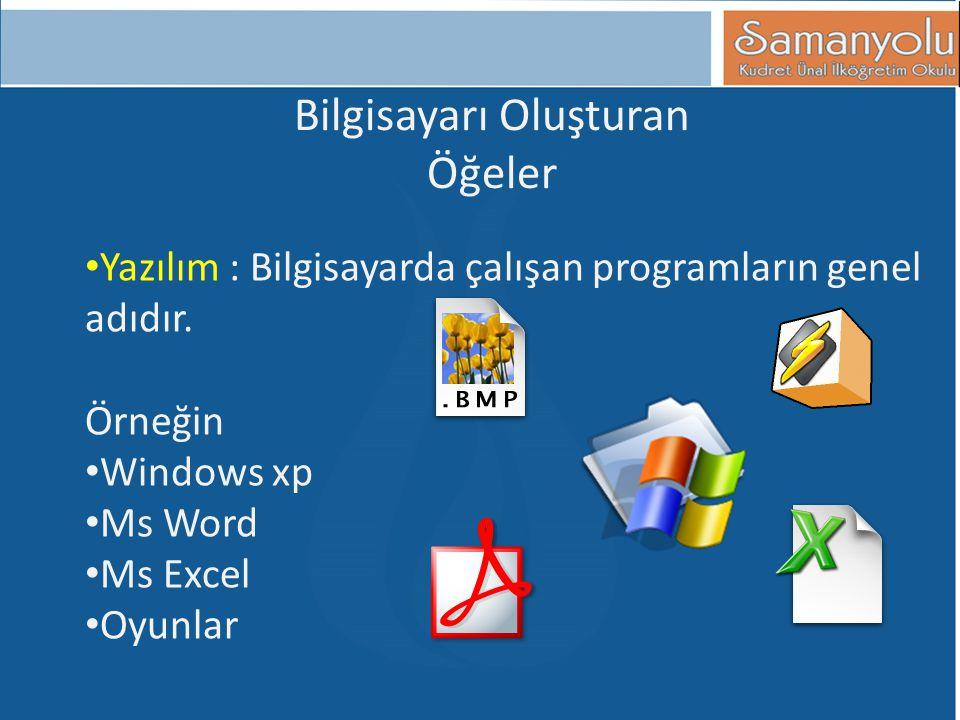 Bilgisayarı Oluşturan Öğeler • Yazılım : Bilgisayarda çalışan programların genel adıdır. Örneğin • Windows xp • Ms Word • Ms Excel • Oyunlar