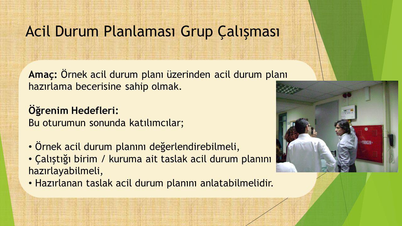 Acil Durum Planlaması Grup Çalışması Amaç: Örnek acil durum planı üzerinden acil durum planı hazırlama becerisine sahip olmak. Öğrenim Hedefleri: Bu o