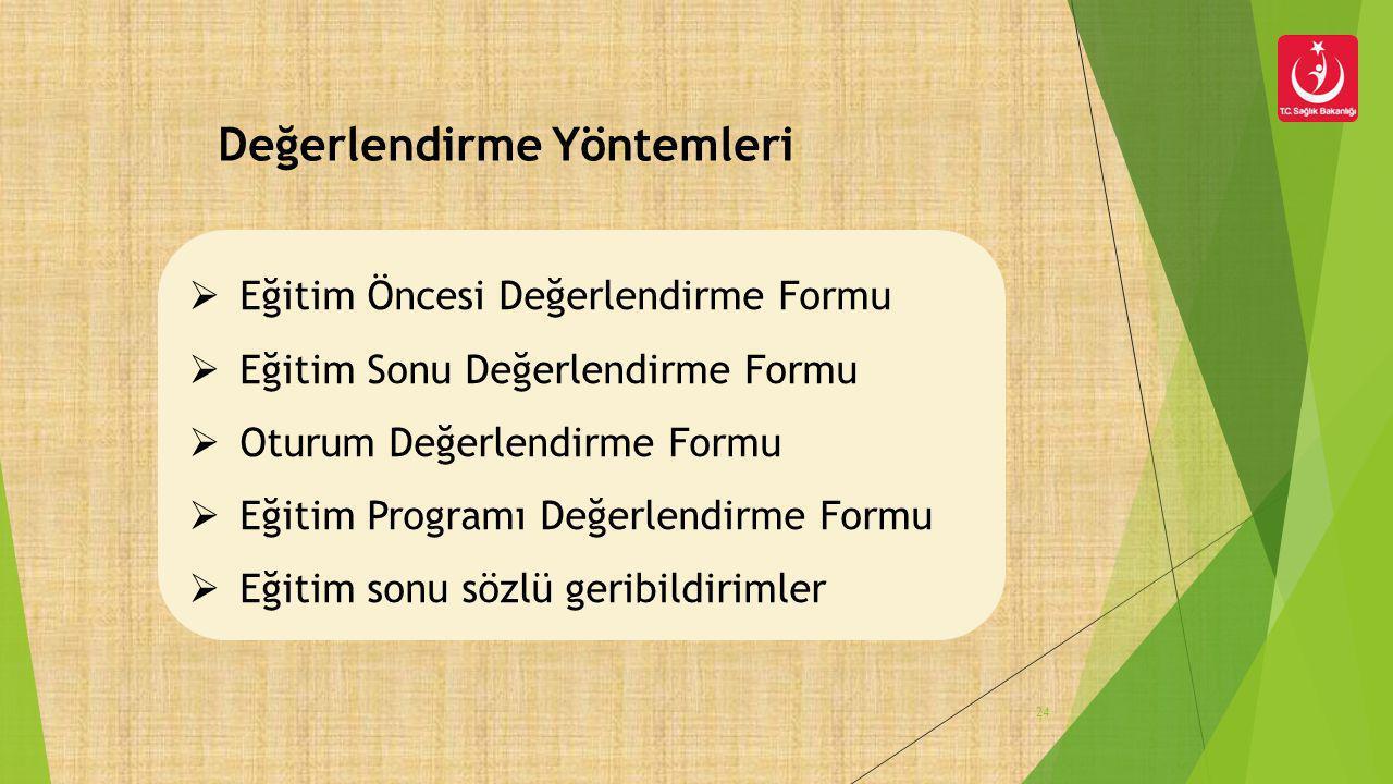 Değerlendirme Yöntemleri 24  Eğitim Öncesi Değerlendirme Formu  Eğitim Sonu Değerlendirme Formu  Oturum Değerlendirme Formu  Eğitim Programı Değer