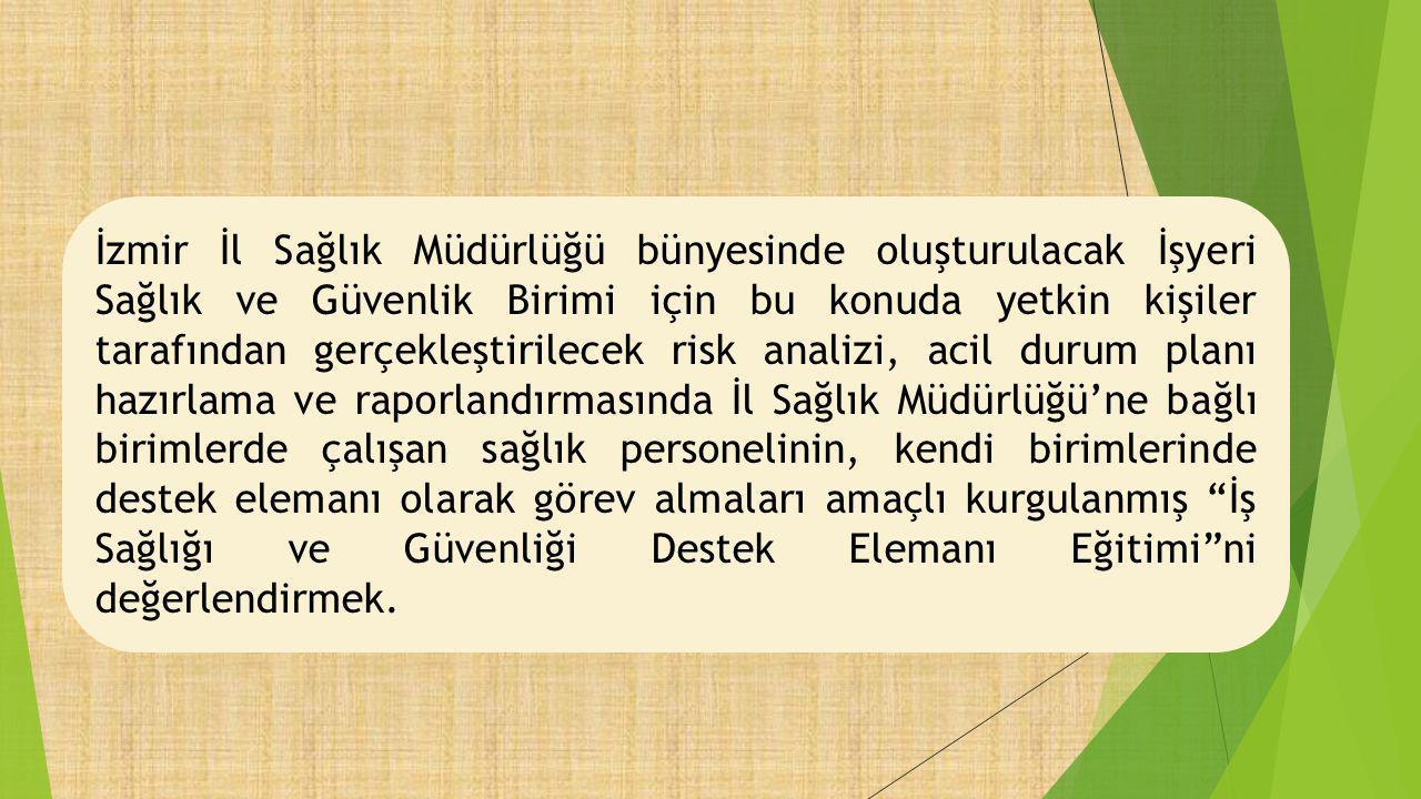 İzmir İl Sağlık Müdürlüğü bünyesinde oluşturulacak İşyeri Sağlık ve Güvenlik Birimi için bu konuda yetkin kişiler tarafından gerçekleştirilecek risk a