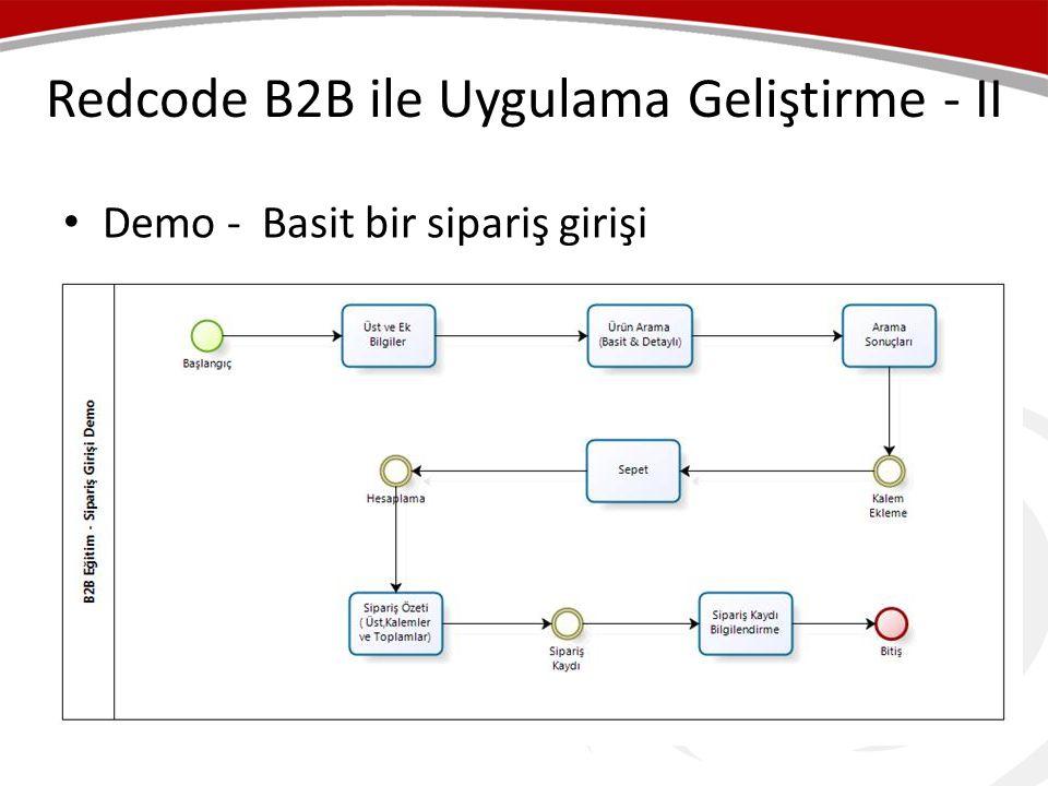 Redcode B2B ile Uygulama Geliştirme - II • Demo - Basit bir sipariş girişi