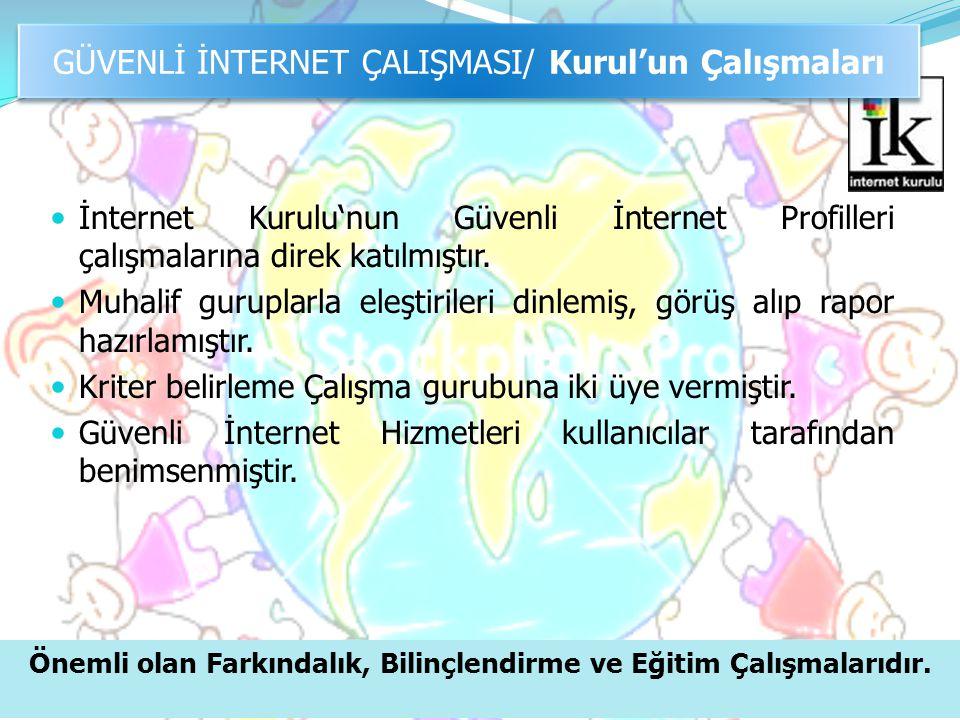  İnternet Kurulu'nun Güvenli İnternet Profilleri çalışmalarına direk katılmıştır.  Muhalif guruplarla eleştirileri dinlemiş, görüş alıp rapor hazırl