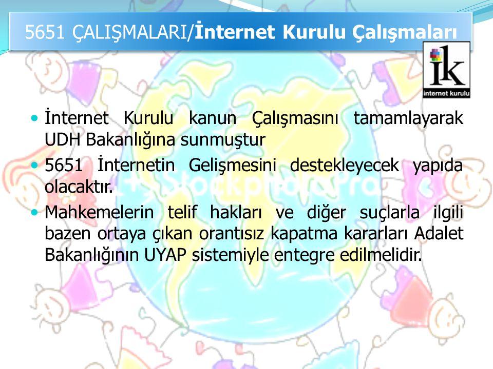  İnternet Kurulu kanun Çalışmasını tamamlayarak UDH Bakanlığına sunmuştur  5651 İnternetin Gelişmesini destekleyecek yapıda olacaktır.  Mahkemeleri