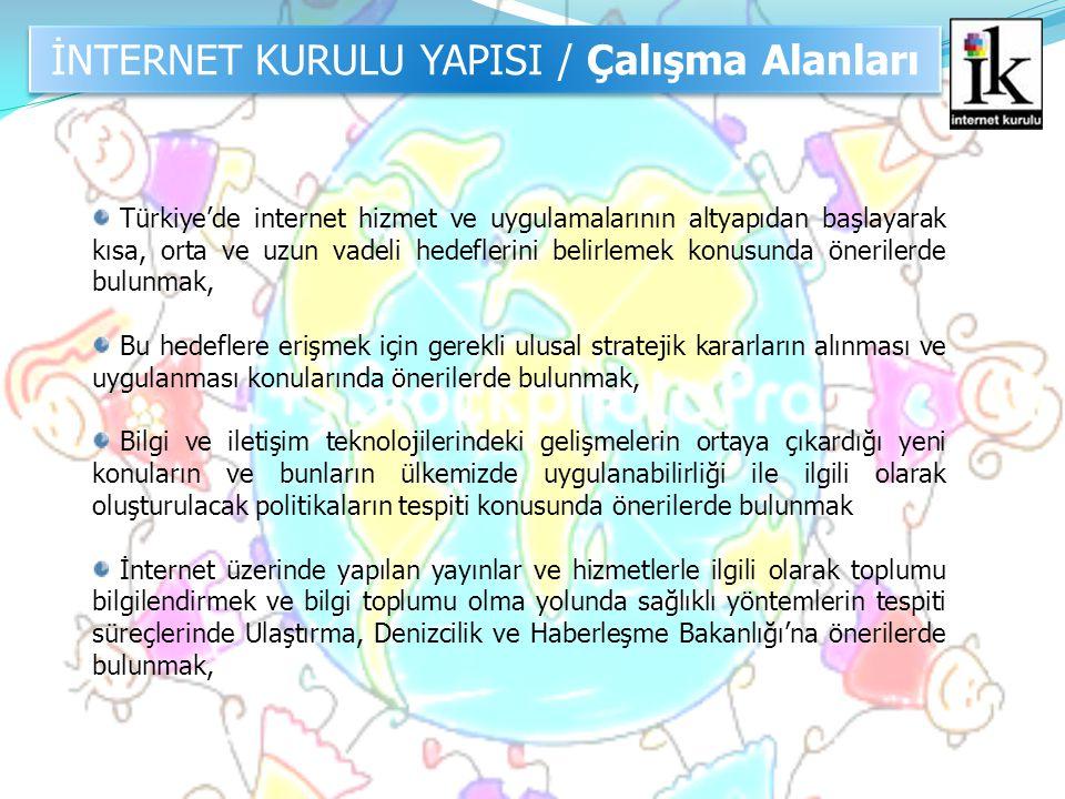 İNTERNET KURULU YAPISI / Çalışma Alanları Türkiye'de internet hizmet ve uygulamalarının altyapıdan başlayarak kısa, orta ve uzun vadeli hedeflerini be
