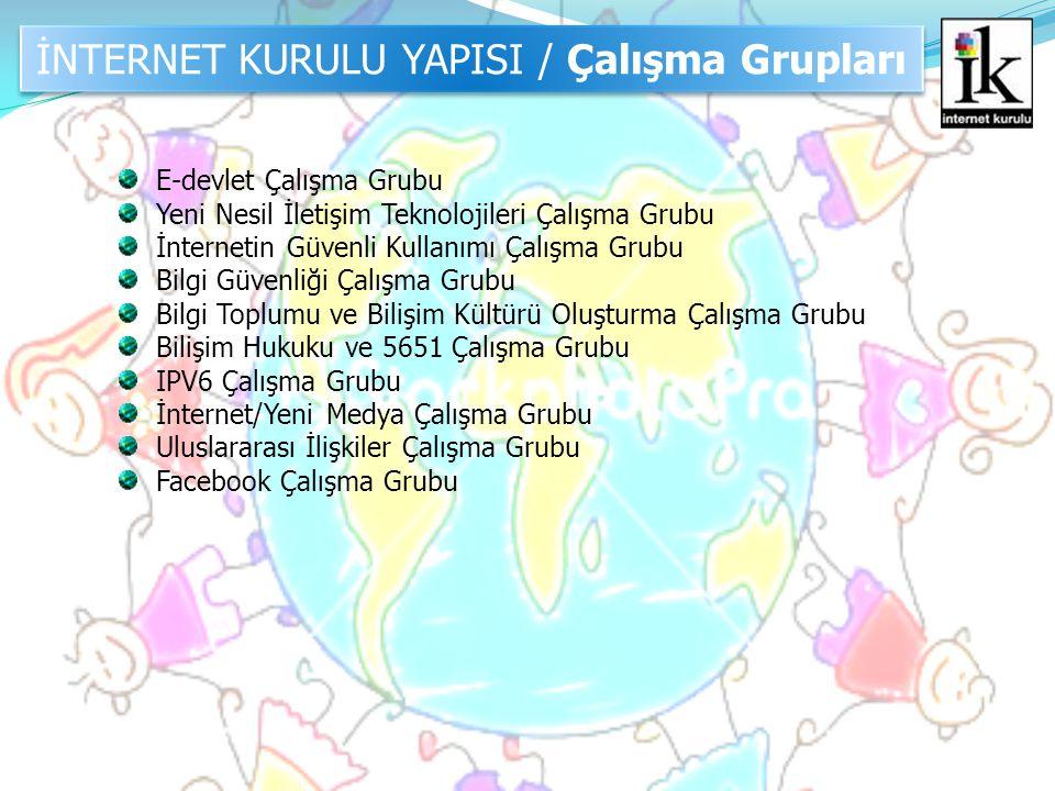 İNTERNET KURULU YAPISI / Çalışma Grupları E-devlet Çalışma Grubu Yeni Nesil İletişim Teknolojileri Çalışma Grubu İnternetin Güvenli Kullanımı Çalışma