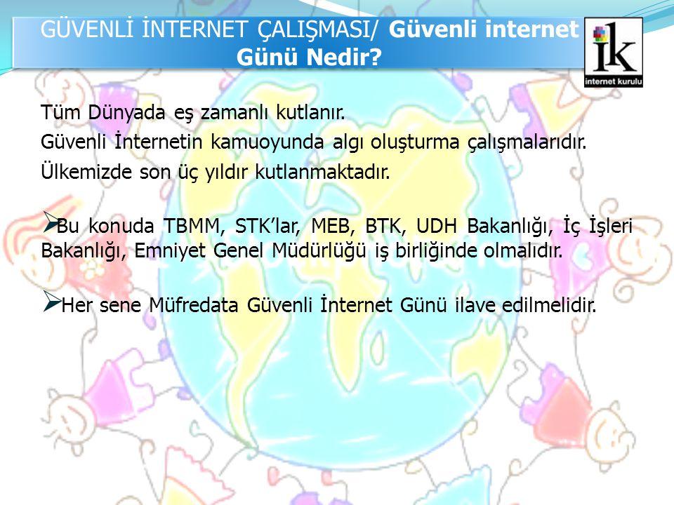 Tüm Dünyada eş zamanlı kutlanır. Güvenli İnternetin kamuoyunda algı oluşturma çalışmalarıdır. Ülkemizde son üç yıldır kutlanmaktadır.  Bu konuda TBMM