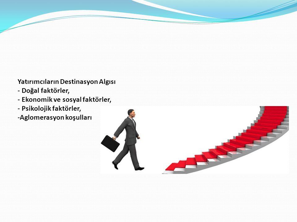 Yatırımcıların Destinasyon Algısı - Doğal faktörler, - Ekonomik ve sosyal faktörler, - Psikolojik faktörler, -Aglomerasyon koşulları