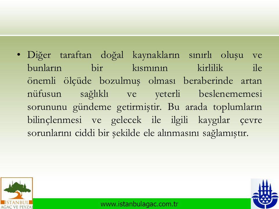 www.istanbulagac.com.tr •Diğer taraftan doğal kaynakların sınırlı oluşu ve bunların bir kısmının kirlilik ile önemli ölçüde bozulmuş olması beraberind