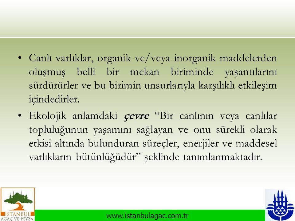www.istanbulagac.com.tr •Canlı varlıklar, organik ve/veya inorganik maddelerden oluşmuş belli bir mekan biriminde yaşantılarını sürdürürler ve bu biri