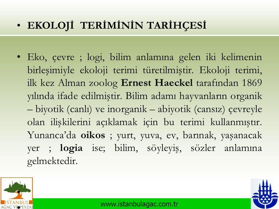 www.istanbulagac.com.tr •EKOLOJİ TERİMİNİN TARİHÇESİ •Eko, çevre ; logi, bilim anlamına gelen iki kelimenin birleşimiyle ekoloji terimi türetilmiştir.