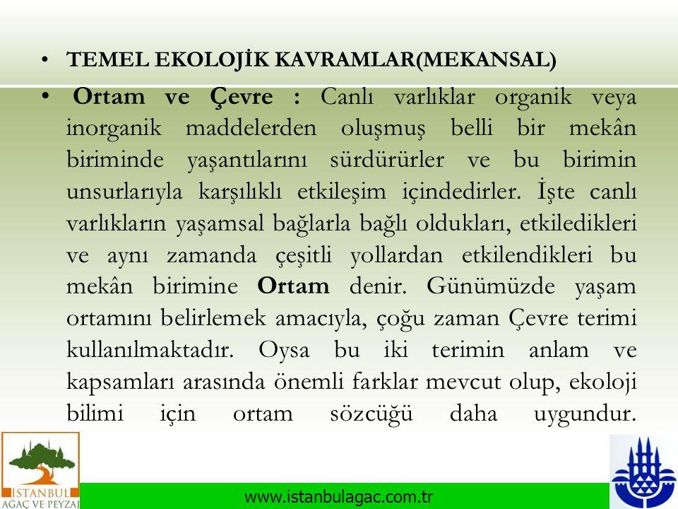www.istanbulagac.com.tr •TEMEL EKOLOJİK KAVRAMLAR(MEKANSAL) • Ortam ve Çevre : Canlı varlıklar organik veya inorganik maddelerden oluşmuş belli bir me