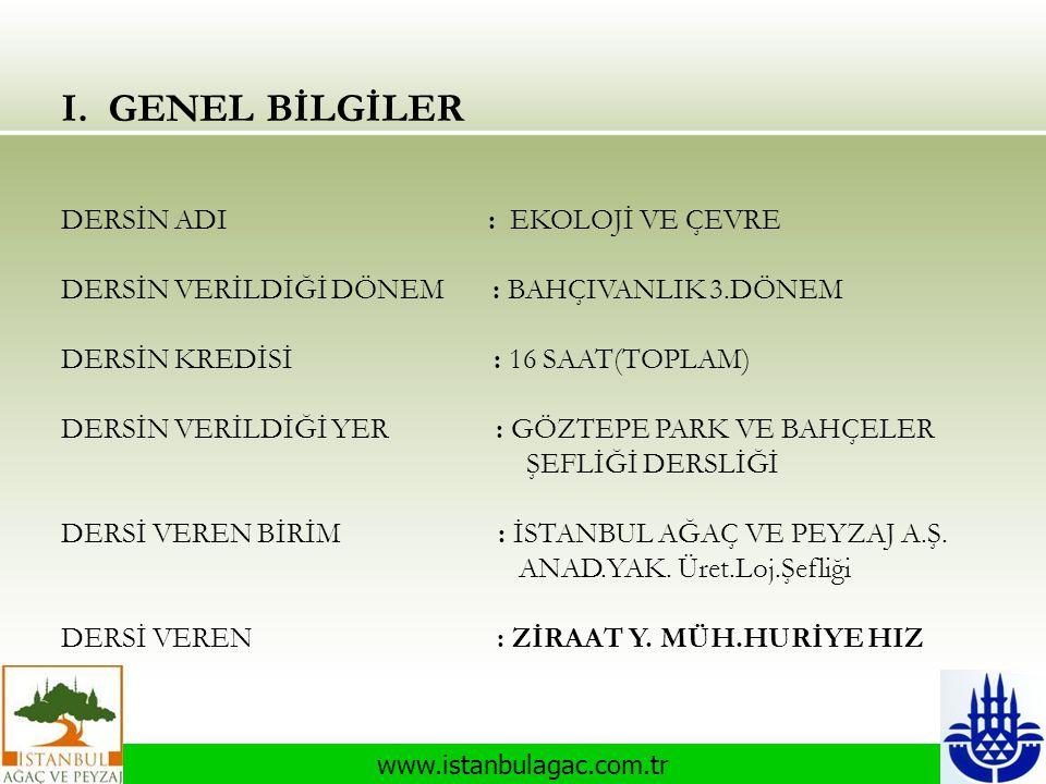www.istanbulagac.com.tr I. GENEL BİLGİLER DERSİN ADI : EKOLOJİ VE ÇEVRE DERSİN VERİLDİĞİ DÖNEM : BAHÇIVANLIK 3.DÖNEM DERSİN KREDİSİ : 16 SAAT(TOPLAM)
