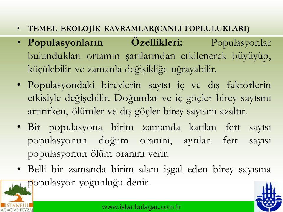 www.istanbulagac.com.tr •TEMEL EKOLOJİK KAVRAMLAR(CANLI TOPLULUKLARI) •Populasyonların Özellikleri: Populasyonlar bulundukları ortamın şartlarından et