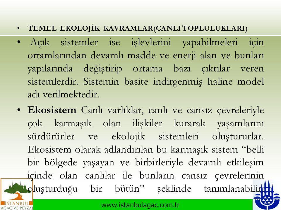 www.istanbulagac.com.tr •TEMEL EKOLOJİK KAVRAMLAR(CANLI TOPLULUKLARI) • Açık sistemler ise işlevlerini yapabilmeleri için ortamlarından devamlı madde