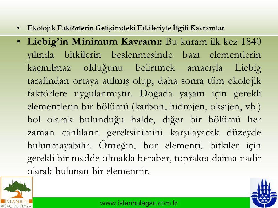 www.istanbulagac.com.tr •Ekolojik Faktörlerin Gelişimdeki Etkileriyle İlgili Kavramlar •Liebig'in Minimum Kavramı: Bu kuram ilk kez 1840 yılında bitki