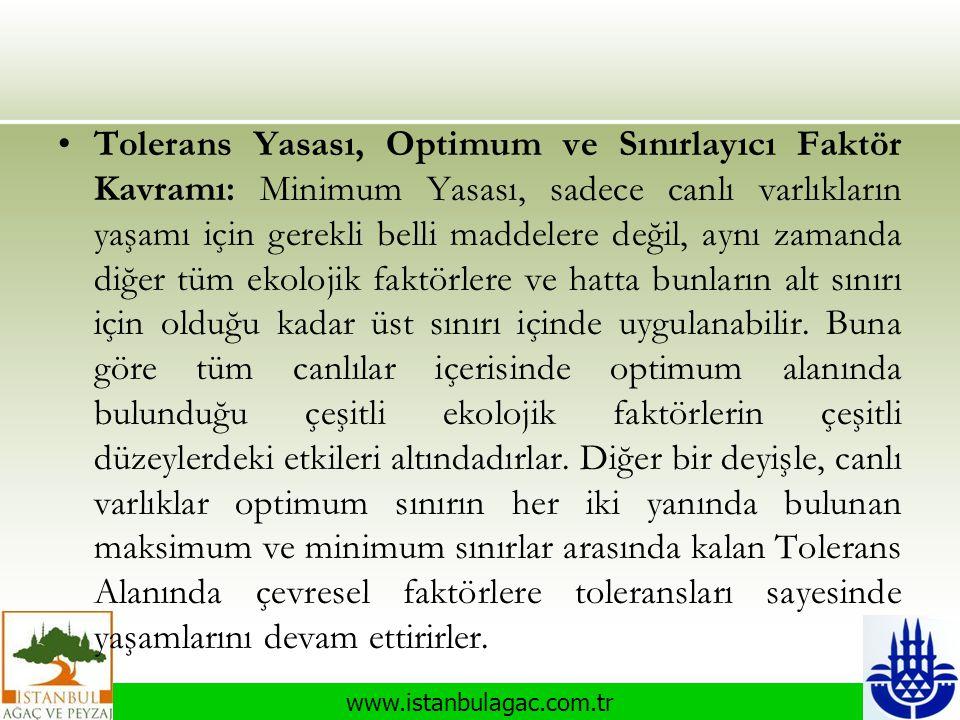 www.istanbulagac.com.tr •Tolerans Yasası, Optimum ve Sınırlayıcı Faktör Kavramı: Minimum Yasası, sadece canlı varlıkların yaşamı için gerekli belli ma