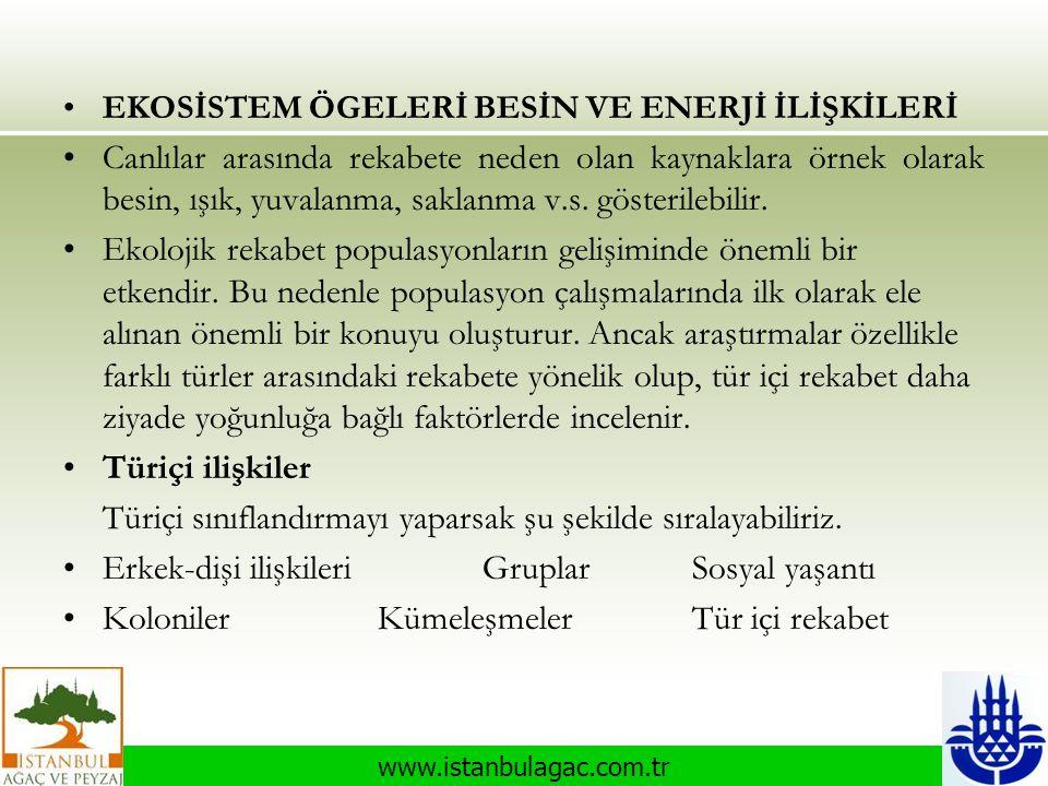 www.istanbulagac.com.tr •EKOSİSTEM ÖGELERİ BESİN VE ENERJİ İLİŞKİLERİ •Canlılar arasında rekabete neden olan kaynaklara örnek olarak besin, ışık, yuva