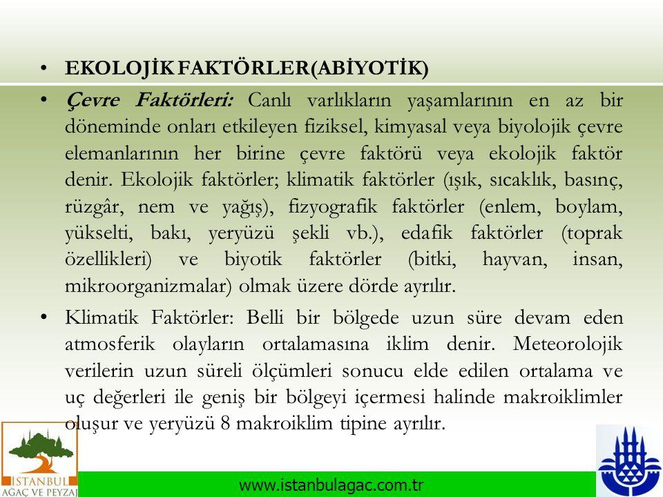 www.istanbulagac.com.tr •EKOLOJİK FAKTÖRLER(ABİYOTİK) •Çevre Faktörleri: Canlı varlıkların yaşamlarının en az bir döneminde onları etkileyen fiziksel,