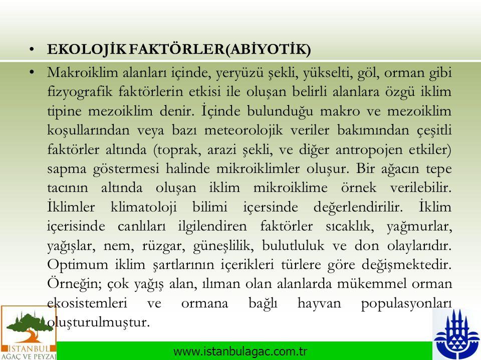 www.istanbulagac.com.tr •EKOLOJİK FAKTÖRLER(ABİYOTİK) •Makroiklim alanları içinde, yeryüzü şekli, yükselti, göl, orman gibi fizyografik faktörlerin et