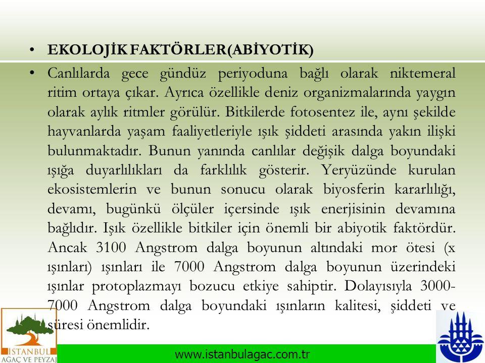 www.istanbulagac.com.tr •EKOLOJİK FAKTÖRLER(ABİYOTİK) •Canlılarda gece gündüz periyoduna bağlı olarak niktemeral ritim ortaya çıkar. Ayrıca özellikle