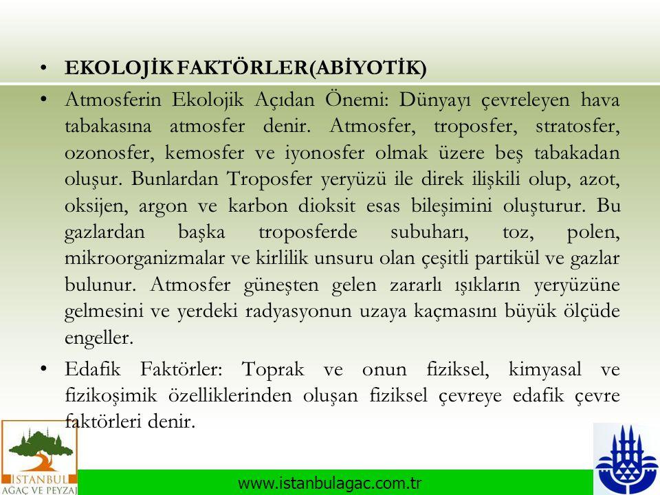 www.istanbulagac.com.tr •EKOLOJİK FAKTÖRLER(ABİYOTİK) •Atmosferin Ekolojik Açıdan Önemi: Dünyayı çevreleyen hava tabakasına atmosfer denir. Atmosfer,