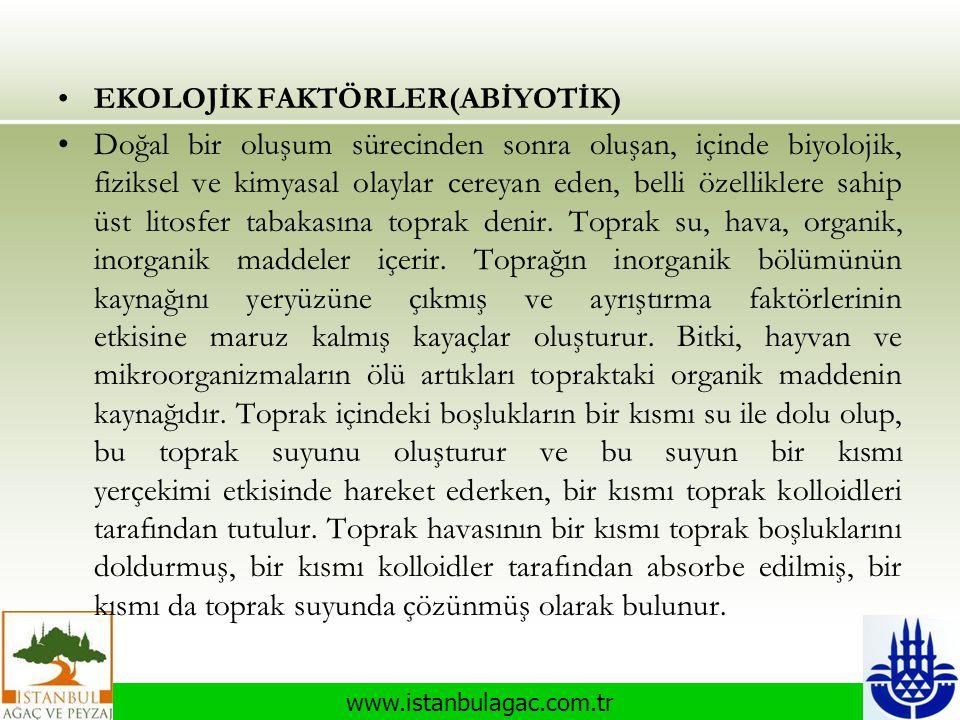 www.istanbulagac.com.tr •EKOLOJİK FAKTÖRLER(ABİYOTİK) •Doğal bir oluşum sürecinden sonra oluşan, içinde biyolojik, fiziksel ve kimyasal olaylar cereya