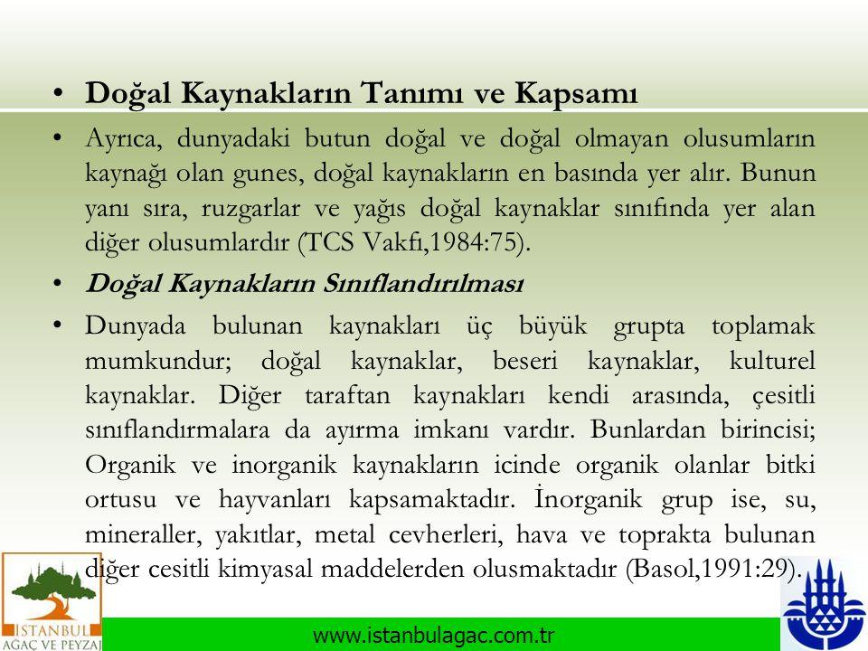 www.istanbulagac.com.tr •Doğal Kaynakların Tanımı ve Kapsamı •Ayrıca, dunyadaki butun doğal ve doğal olmayan olusumların kaynağı olan gunes, doğal kay