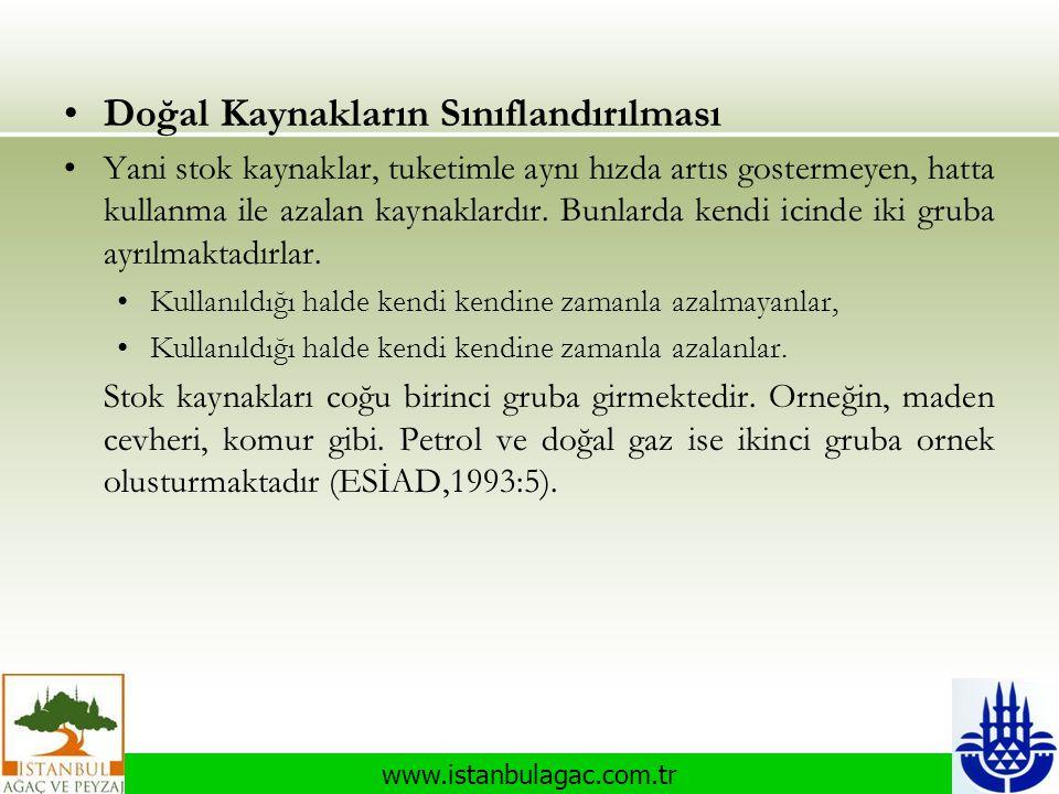 www.istanbulagac.com.tr •Doğal Kaynakların Sınıflandırılması •Yani stok kaynaklar, tuketimle aynı hızda artıs gostermeyen, hatta kullanma ile azalan k