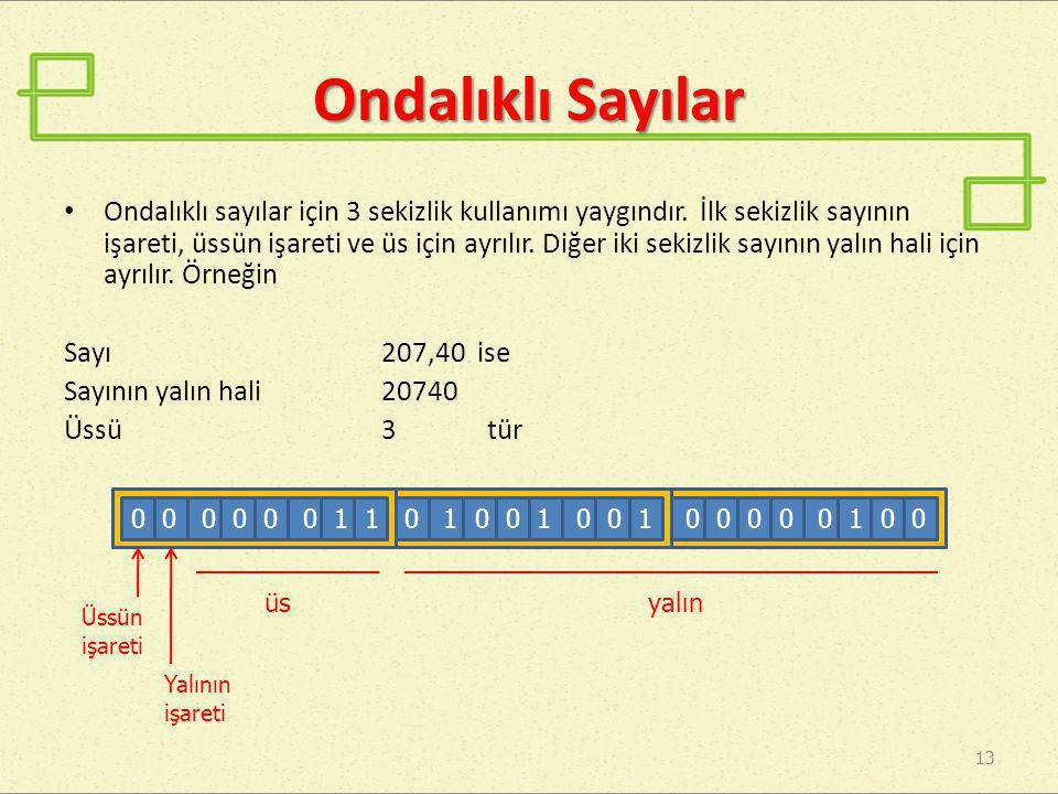 Ondalıklı Sayılar • Ondalıklı sayılar için 3 sekizlik kullanımı yaygındır. İlk sekizlik sayının işareti, üssün işareti ve üs için ayrılır. Diğer iki s
