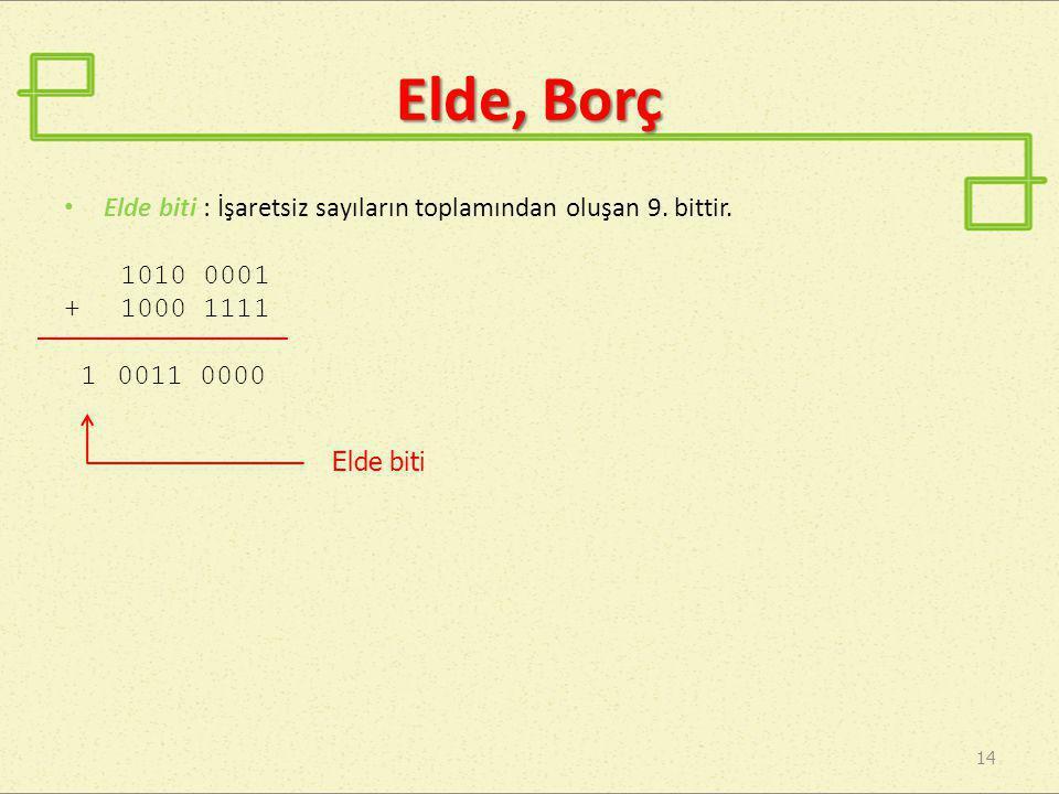 Elde, Borç •E•Elde biti : İşaretsiz sayıların toplamından oluşan 9. bittir. 1010 0001 + 1000 1111 1 0011 0000 14 Elde biti