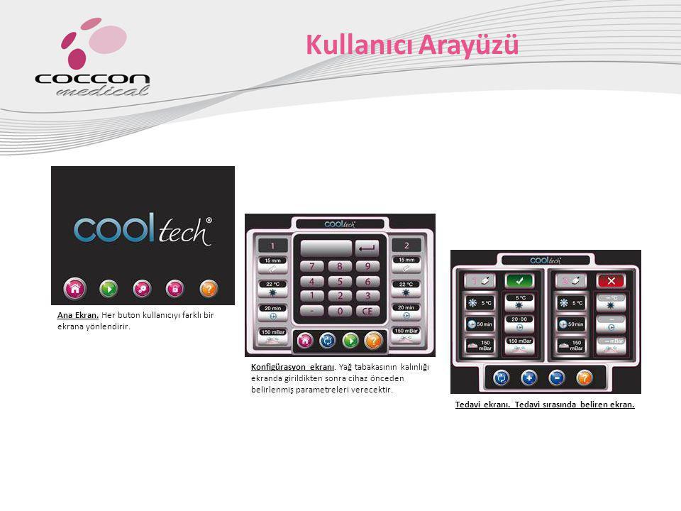 Kullanıcı Arayüzü Ana Ekran. Her buton kullanıcıyı farklı bir ekrana yönlendirir. Konfigürasyon ekranı. Yağ tabakasının kalınlığı ekranda girildikten