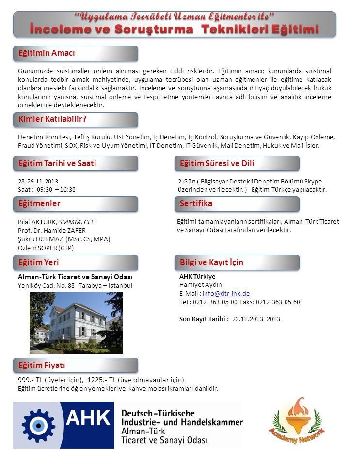 Eğitimi tamamlayanların sertifikaları, Alman-Türk Ticaret ve Sanayi Odası tarafından verilecektir.