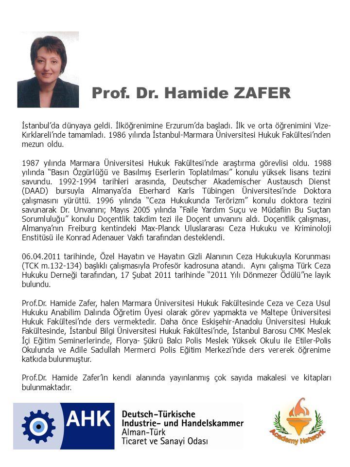 Prof.Dr. Hamide ZAFER İstanbul'da dünyaya geldi. İlköğrenimine Erzurum'da başladı.