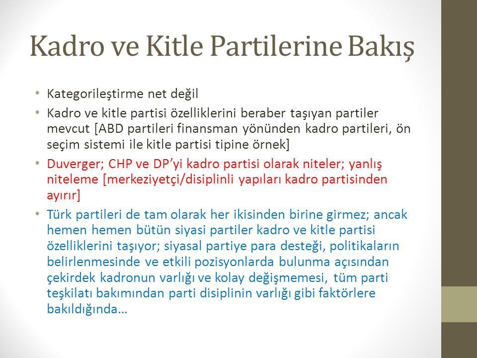 Kadro ve Kitle Partilerine Bakış • Kategorileştirme net değil • Kadro ve kitle partisi özelliklerini beraber taşıyan partiler mevcut [ABD partileri fi