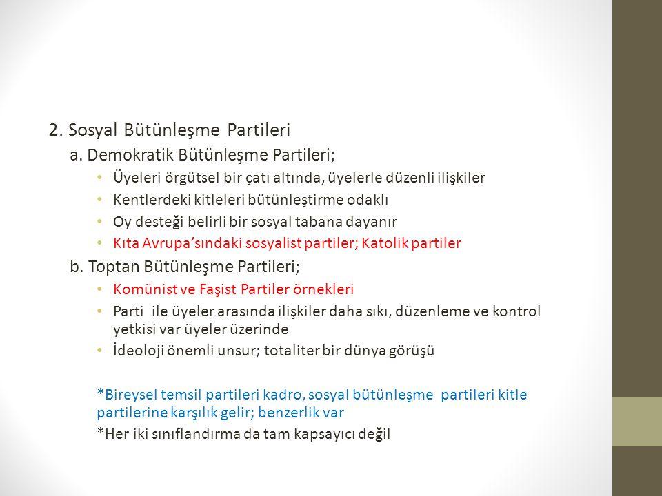 2. Sosyal Bütünleşme Partileri a. Demokratik Bütünleşme Partileri; • Üyeleri örgütsel bir çatı altında, üyelerle düzenli ilişkiler • Kentlerdeki kitle