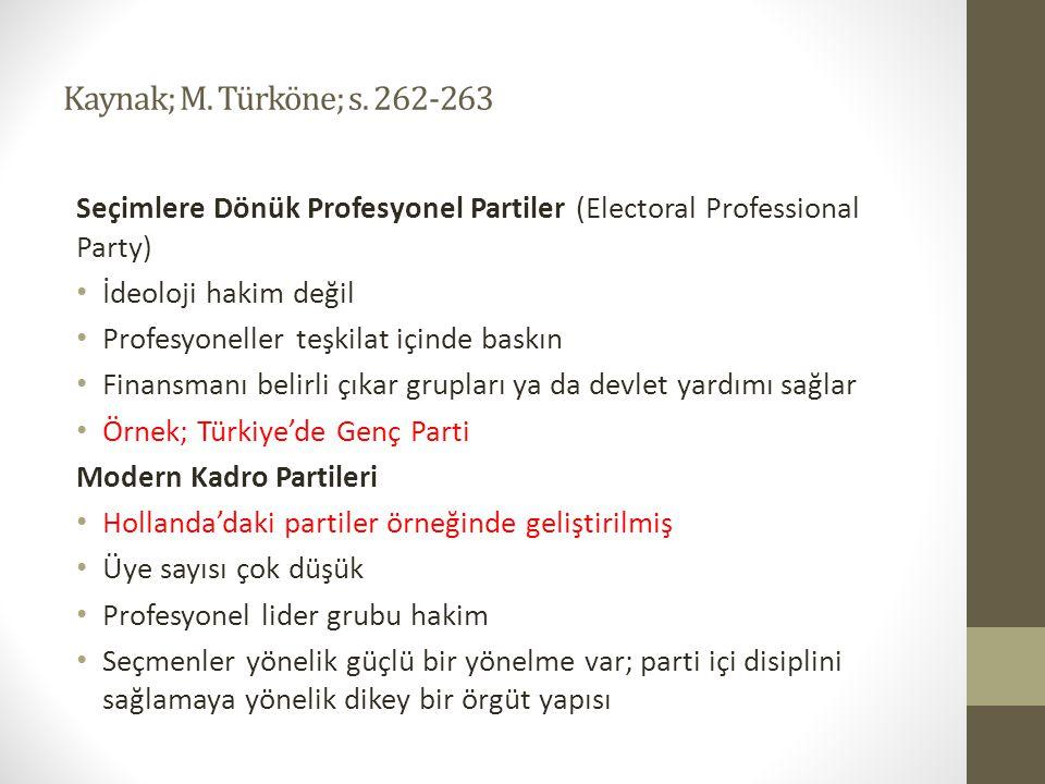 Kaynak; M. Türköne; s. 262-263 Seçimlere Dönük Profesyonel Partiler (Electoral Professional Party) • İdeoloji hakim değil • Profesyoneller teşkilat iç